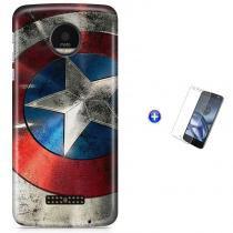 Kit Capa Case TPU Moto Z Play - Capitão América Avengers Vingadores + Pel Vidro (BD01) - BD Net Imports