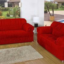 Kit Capa de Sofá 21 Elásticos Vermelho e Cortina Sophia 170x200cm Vermelho - Rosdry Enxovais