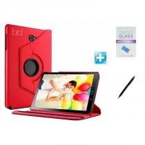 Kit Capa Galaxy Tab A 7.0 T280/T285 Giratória 360 / Caneta Touch + Pel Vidro (Vermelho) - Skin t18