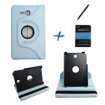 """Kit Capa para Galaxy Tab E 7"""" T113/T115 Giratória 360 + Película de Vidro + Caneta Touch (Azul Claro) - BD Net Imports"""