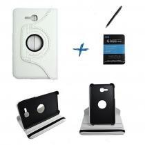 "Kit Capa para Galaxy Tab E 7"" T113/T115 Giratória 360 + Película de Vidro + Caneta Touch (Branco) - BD Net Imports"