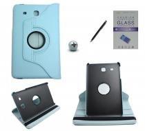 Kit Capa para Galaxy Tab E 9.6 T560/T561 Giratória 360 + Película de Vidro + Caneta Touch (Azul Claro) - BD Net Imports