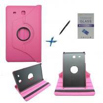Kit Capa para Galaxy Tab E 9.6 T560/T561 Giratória 360 + Película de Vidro + Caneta Touch (Pink) - Skin t18
