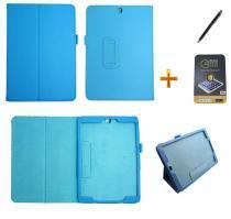 Kit Capa para Galaxy Tab S2 9.7 T810/T815 Carteira + Película de Vidro + Caneta Touch (Azul) - BD Net Imports