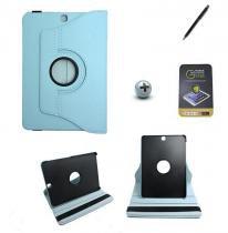 Kit Capa para Galaxy Tab S2 9.7 T810/T815 Giratória 360 + Película de Vidro + Caneta Touch (Azul Claro) - BD Net Imports