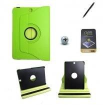 Kit Capa para Galaxy Tab S2 9.7 T810/T815 Giratória 360 + Película de Vidro + Caneta Touch (Verde) - BD Net Imports