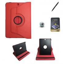 Kit Capa para Galaxy Tab S2 9.7 T810/T815 Giratória 360 + Película de Vidro + Caneta Touch (Vermelho) - BD Net Imports