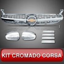 Kit Capa Retrovisor Grade Maçaneta Wagon Sedan Corsa Cromado - Colmeia sem Tela no Fundo e na Parte do Emblema com Fundo Preto Modelo 7 - Linha Prime