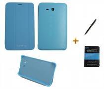 "Kit Capa Smart Book Case Galaxy Tab E - 7"" T113/T115/T116 / Caneta Touch + Película de Vidro (Azul) - BD Net Imports"