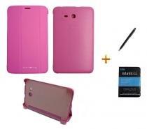 "Kit Capa Smart Book Case Galaxy Tab E - 7"" T113/T115/T116 / Caneta Touch + Película de Vidro (Rosa) - Skin t18"