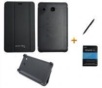 Kit Capa Smart Book Case Galaxy Tab E - 8.0 T375/T377 + Pelicula de Vidro/Caneta Touch (Preto) - BD Net Imports