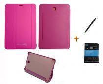 Kit Capa Smart Book Case Galaxy Tab S2 - 8.0 T710/715 / Caneta Touch + Película de Vidro (Rosa) - BD Net Imports