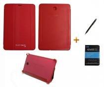 Kit Capa Smart Book Case Galaxy Tab S2 - 8.0 T710/715 / Caneta Touch + Película de Vidro (Vermelho) - BD Net Imports