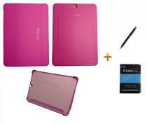 Kit Capa Smart Book Case Galaxy Tab S2 - 9.7 T810/815 / Caneta Touch + Película de Vidro (Rosa) - BD Net Imports