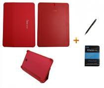 Kit Capa Smart Book Case Galaxy Tab S2 - 9.7 T810/815 / Caneta Touch + Película de Vidro (Vermelho) - BD Net Imports