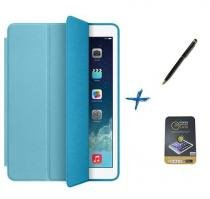 Kit Capa Smart Cover iPad Mini 2/3 Caneta Touch + Película de Vidro (Azul) - BD Net Imports