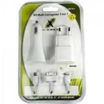 Kit carregador 3 em 1 micro usb/lightning/doc xc-mc3x1 branco x-cell -