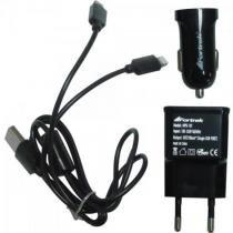 Kit carregadores de energia usb 12v/bivolt mpk-101 preto fortrek -