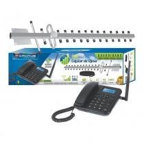 Kit celular de mesa dual chip + antena quadriband + cabo de 15 metros - Antenas cromus