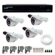 Kit cftv 4 câmeras infra tudo forte hd 720p  + dvr luxvision all hd 5 em 1 ecd + acessórios - Luxvision