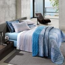 Kit Cobre Leito Casal Platinum 200 Fios Dubai - Santista - Azul - Santista