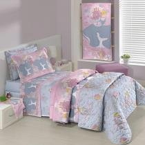 Kit Cobre Leito Infantil Princesa Disney 150 Fios - Santista - Princess Reflection - Santista