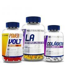 Kit Colágeno Hidrolisado - 60 Cápsulas + Volt Caffeine - 90 Cápsulas + La Carthamus Linoleic Acid - 120 Cápsulas - Powerfit - Nutrilatina - Nutrilatina