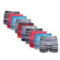 Kit com 10 Cuecas Premium Boxer sem costura LJK: Tamanho P/M -