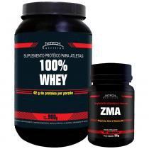 Kit com 100 Whey 900g - Morango + ZMA 90 Comprimidos - Nitech Nutrition - Nitech Nutrition