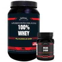 Kit com 100 Whey - Baunilha + BCAA 2400 - 100 Cápsulas - Nitech Nutrition -