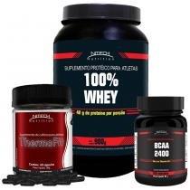 Kit com 100 Whey - Morango + Thermofit - 60 Caps + BCAA 2400 - 100 Cápsulas - Nitech Nutrition -