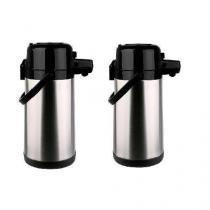Kit com 2 garrafas termicas aço inox pressao 1,9l termopro tp6506 - Termopro