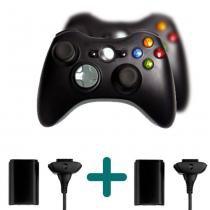 Kit Com 2 Joystick Controle Wireless Compativel Xbox 360 Knup + 2 Baterias Para Xbox 360 - Mega page