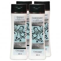 Kit com 2 shampoos e 2 condicionadores queda de cabelo de alumã e broto de bambu - Crescenew