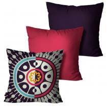 c5c9e4c382 Kit com 3 Almofadas Decorativas Roxo Mandala - Pump up