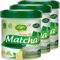 Kit com 3 Frascos de Matcha Termo Fit Instantâneo Limão 220g Unilife -