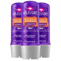 Kit com 3 Tratamento Aussie 3 Minute Miracle Smooth Frizz Control 236ml -