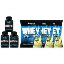 Kit Com 3 Whey Protein - 500G + 3 Bcaa - 120 Cápsulas - Atlhetica - Morango - Atlhetica