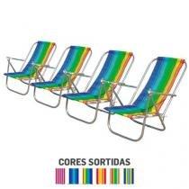 Kit com 4 cadeiras de Praia Botafogo 2 posições em Alumínio - Chapelaria botafogo