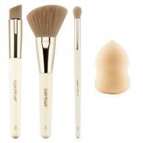 Kit com 4 pinceis pincel maquiagem macrilan colecao studio cs200 - Importado