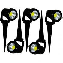 Kit Com 5 Pecas - Luminaria Led Espeto De Jardim Cob 3w - Branco Quente - Cob3wbq - Cast light