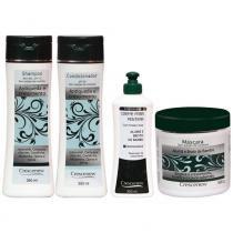 Kit com shampoo, condicionador, creme e máscara hidratante capilar queda de cabelo - Crescenew