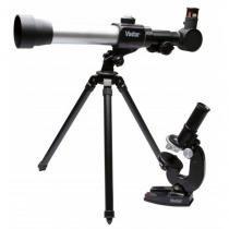 Kit combinado Infantil telescópio e microscópio - VIVITAR - VIVTELMIC20 -