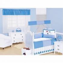 Kit Completo Rodovia 100 Algodão 14 Peças - Azul - Batistela Baby
