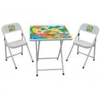 Kit Conjunto Mesa com 2 Cadeiras Aço Ferro Dobrável Infantil Sapeca Metalmix - Metalmix