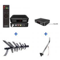 Kit Conversor Digital + Antena Digital UHF + Suporte - Prime Tech - Junior - Prime Tech