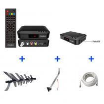 Kit Conversor Digital + Antena + Suporte + Cabo 10 metros - KIT-PLENO-8000 - Prime tech