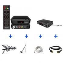 Kit Conversor Digital + Antena + Suporte + Cabo 10m + Cabo HDMI 2m - KIT-SÊNIOR-8000 - Prime tech
