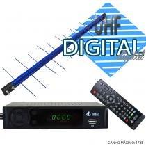 Kit Conversor Digital Infokit 1080p ITV-200 + Antena Capte banda total custom log 14/28e 18dBi Azul - Infokit - Next