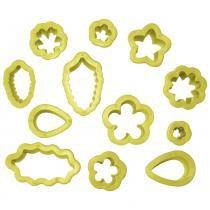 Kit cortador de plástico flores blue star com 12 peças - ref. 65139 -